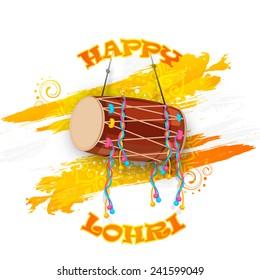 Punjabi festival, Happy Lohri celebration with drum on floral decorated background.
