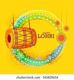 Punjabi festival of lohri celebration background with decorated drum.