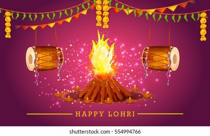 Punjabi culture images stock photos vectors shutterstock punjabi festival of lohri celebration background malvernweather Images