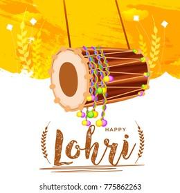 Punjabi festival of lohri celebration background with decorated drum.Easy to edit.