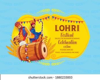 Punjabi festival of lohri celebration  With Bonfire, Sugarcane, Decorated Drum Instruments