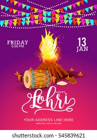 Punjabi festival of lohri celebration bonfire background with decorated drum.