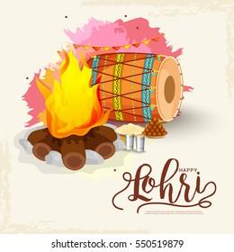 Punjabi festival of lohri greeting card background.