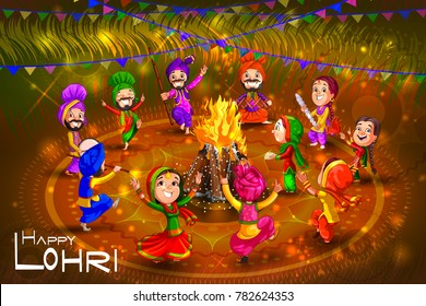 Punjabi people celebrating harvest festival of Punjab India Lohri. Vector illustration