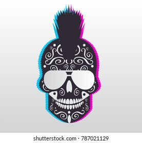 Punk 3D skull with sunglasses and Mohawk