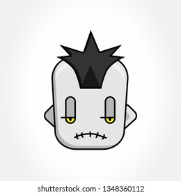 Punk Avatar Face. Fun Cartoon Face. Vector Emoji. Punk Dead Avatar