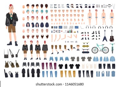 Punk DIY or constructor kit. Set of young male character or teenager body parts, emotions, postures, outfit, subculture accessories isolated on white background. Flat cartoon vector illustration