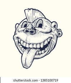 Punk Emoticon with a crest on the head and tongue hanging out. Drawing Style. Vector illustration.