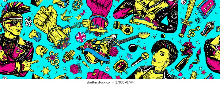 Punk girl lifestyle. Hooligans. Anarchy art. Music concept. Rock culture musical background. Seamless pattern. Punker with mohawk, electric guitar, rock woman
