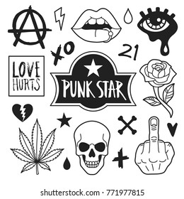 Punk icons collection. Vector illustration of outline punk culture symbols and icons, such as skull, pierced lips, cannabis, rose, fuck gesture and anarchy sign. Isolated on white.
