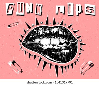 Punk Lips. Vector hand drawn black and white shiny bitten lips in the style of the of Punk and grunge flyers and posters isolated on pink background.