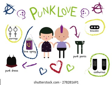 Punk Love Valentines Couple Vector