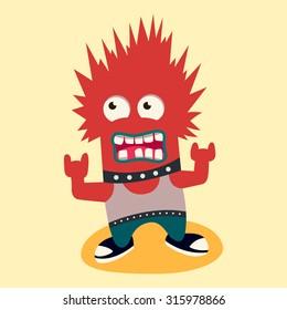 punk monster. vector illustration