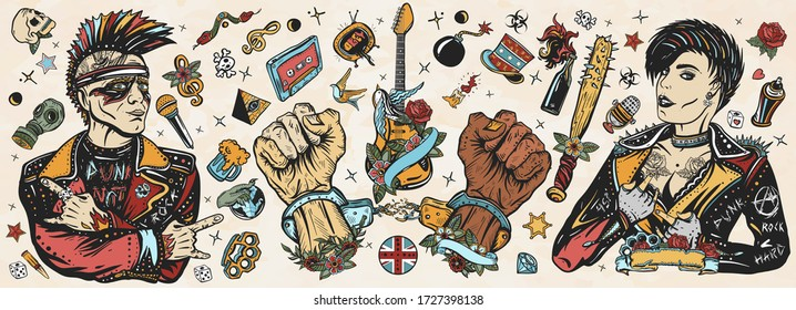 Punk music. Old school tattoo vector collection. Punker with mohawk hairstyle, rock woman, guitarist girl. Hooligans lifestyle. Electric guitar. Anarchy art. Traditional tattooing style