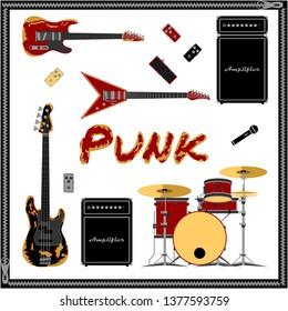 Punk music set vector illustration