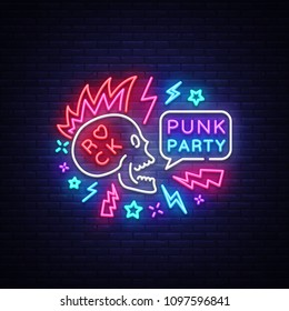 Punk Party Neon Sign Vector. Rock music logo, night neon signboard, design element invitation to Rock party, concert, festival, night bright advertising, light banner. Vector illustration