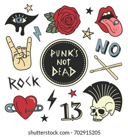 Punk patches collection. Vector illustration of grunge and rock music badges and symbols, such as Rose, Skull, open mouth with tongue, Heart on pin, eye with make up and Drumsticks. Isolated on white.