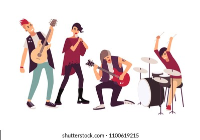 Punk rock band performing on stage. Group of young teenage men and women with mohawks singing and playing music during concert isolated on white background. Flat cartoon vector illustration.