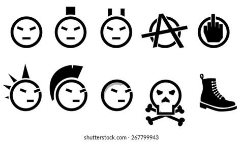 Punk Rock Icon Set