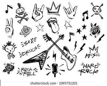 Punk rock n roll elements collection. Vector hard rock doodle illustrations, signs, objects, symbols. Cartoon rock star icon for music band, concert, party. Isolated on white background