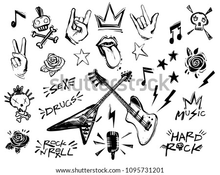 Punk Rock N Roll Elements Collection Stock Vector Royalty Free