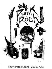 Punk Rock. Roll Vector set
