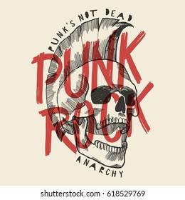punk rock skull print. punk is not dead anarchy poster