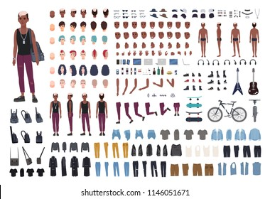 Punk rocker DIY or animation kit. Bundle of young male character or teen body elements, postures, outfit, counterculture accessories isolated on white background. Flat cartoon vector illustration