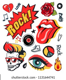 Punk rock-n-roll icons stickers set. Open mouth with tongue, vintage rose, makeup eye and skull with mohawk musical badge vector illustration isolated