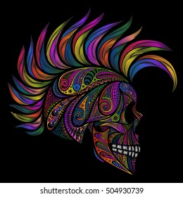 Punk. Skull with Mohawk. Color vector skull patterns and the Mohawk.