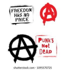 Punk spray graffiti stencils and signs of anarchy.