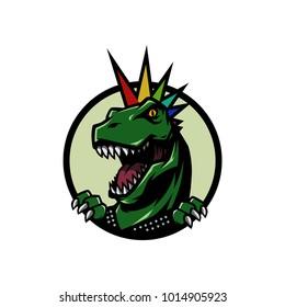 Punk T Rex Head mascot logo illustration