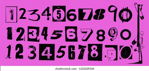 Punk typography vector numbers design collection. Dirty textured type specimen set of numeric characters from 1 to 0 for grunge font flyers and posters design or ransom note designs.