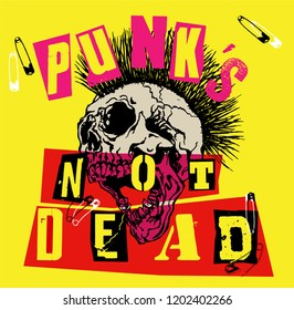 Punk's Not Dead. Screaming skull head with mohawk hair isolated on yellow background.