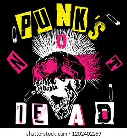 Punk's Not Dead. Screaming skull head with mohawk hair isolated on black background.
