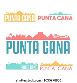 Punta Cana Dominican Republic Flat Icon Skyline Vector Silhouette Design Set
