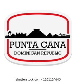 Punta Cana Dominican Republic Label Stamp Icon Skyline City Design Tourism