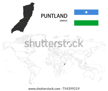 World Map Somolia.Puntland Somalia Map On World Map Stock Vector Royalty Free