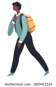 Pupil carrying satchel on shoulders, isolated male character with backpack. Smart school boy, student hurrying for lessons. Preschooler or teenager in movement, vector in flat style illustration