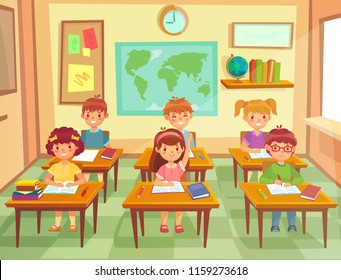 Pupil kids at classroom. Primary school children pupils education, smiling boys and girls character study in schools small class room, learning knowledge colorful cartoon vector illustration