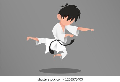 Pupil of martial arts. Concept exercises in the jump. Boy is fighting