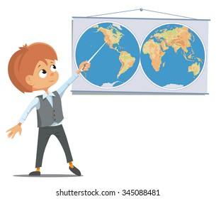 The pupil at the school in the classroom stands near the world map. Vector Illustration