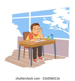 Pupil sleeping in school flat vector illustration. Tired schoolboy at desk with closed eyes cartoon character. Sleepy schoolkid sitting at table with notebook and apple in classroom.