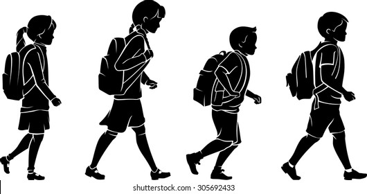 Pupils with Backpack Going to School Silhouette