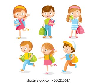 Pupils with backpacks and books