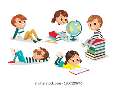 Pupils. Children having rest. School, childhood, friends. Books, globe. Vector illustration. Flat design.