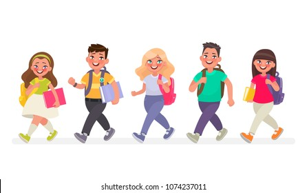 Pupils go to primary school. Vector illustration in cartoon style