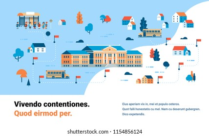 pupils going to school map isometric building yard bus station success study concept horizontal copy space flat vector illustration