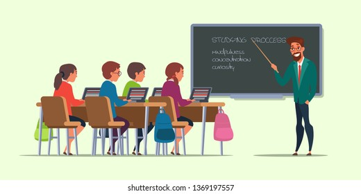 Pupils at lesson flat vector illustration. Students in classroom drawing. University, college education. Teacher cartoon character pointing at chalkboard. Children studying, using laptops