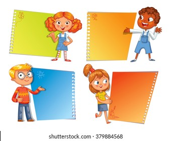 Pupils pointing at a poster. Ready for your message. Colorful template for advertising brochure with a cute happy kid. Funny cartoon character. Vector illustration. Isolated on white background